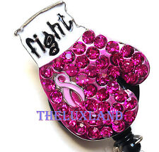Rhinestone retractable ID badge holder reel - Pink Ribbon Flight Boxing Glove