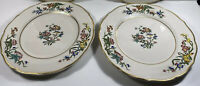 "Syracuse China Restaurant Ware - Set Of 2 10 1/2"" Plates - Scalloped Gold Bird"
