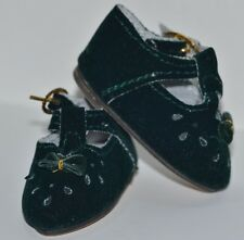 """Doll Shoes T-Strap Green Suede 2.25"""" NEW"""