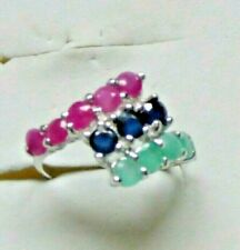 Ruby Sapphire & Emerald Ring Sizr 5.75