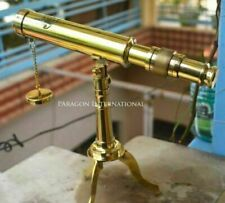 Vintage Solid Brass Decorative Collectible Decor Telescope with Tripod Stand 10""