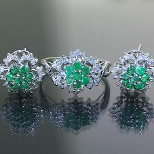 14k White gold natural Colombian Emerald & Diamond ring + earrings cocktail set