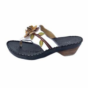 Spring Step Womens Linda Flip Flop Sandals White Flower Cuban Heels 5 New