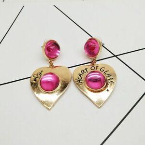 "Betsey Johnson "" Heart of Glass"" Gold Heart Pink Glass Drop Clip On Earrings"