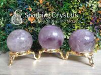 Natural Brazilian Amethyst Crystal Sphere Round Crystal Ball Healing Sphere Rock