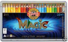 MAGIC PENCIL CRAYONS triangular 23 KOL 3408/24 + blender metal BOX