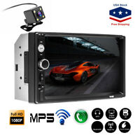 """7"""" Double 2DIN Car Bluetooth Touch Screen Stereo Radio USB AUX IN MP5 Player TF"""
