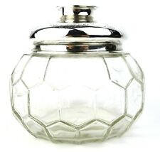 Antique Sterling Silver & Glass Sweet Jar Garlands Birmingham 1912