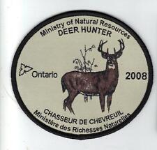 2008 ONTARIO MNR DEER HUNTER PATCH-MICHIGAN DNR DEER-BEAR-MOOSE-ELK-CREST-BADGE