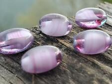 Vintage Pretty Purple & Pink Porphyr Glass Smooth Oval Beads DIY Jewelry Making