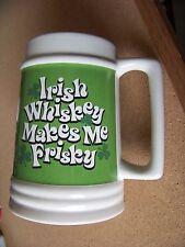 Irish Whiskey Makes Me Frisky large handled porcelain stein mug cup