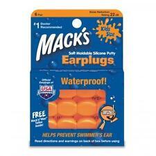 MACKS Moldable Kids Silicone Earplugs - 6 pairs (ORANGE)