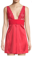 La Perla Azalea XS Silk Chemise Lace Triangle Cups Valentine Red Elegant