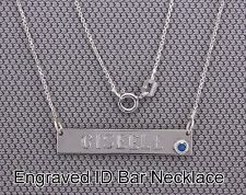 ID Bar Necklace,Custom Name,Birth Stone color.925 Silver+Italy Chain 14-20""
