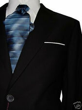 CARLO LUSSO 2B MEN'S SUIT SOLID BLACK 40R 40 R FREE FAST SHIP & TIE SET