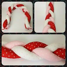 Cot Bumper Bedding Braided bumper 2m length 20cm high stars on red pink white