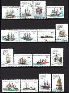 1974-81 Australia Antarctic Territory #L37-L52 Ships Aurora Dan Resolution Fram