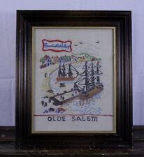 Vintage Olde Salem, MA Hand Made Cross Stitch Needlepoint ~Historic