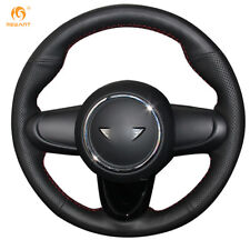 Wearable Black Leather DIY Steering Wheel Cover for Mini Coupe 2016 #0119