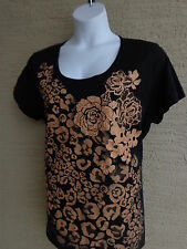 NWT Just My Size Glitzy Graphic Scoop Neck S/S Cotton Tee Shirt  1X Black, Gold