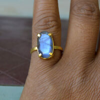 Natural Faceted Blue Fire Labradorite 14K Yellow Gold Engagement Ring Size 7