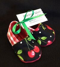 NEW Cherry Red Gingham Girl Baby Booties 0-3 Mo Punk/Xmas Rockabilly 50s Retro