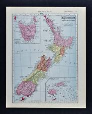 1911 McNally Map - New Zealand - Aukland Wellington Nelson Tasmania Fiji Islands