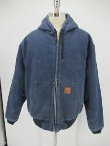 L8434 VTG Men's Carhartt Full-Zip Duck Active Hooded Jacket Size 2XL