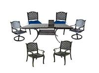 Outdoor dining set 7 piece aluminum expandable table swivel rockers arm chairs