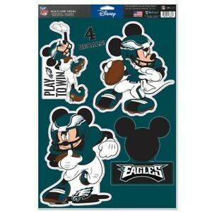 """PHILADELPHIA EAGLES 4 PIECE MICKEY MOUSE DECALS 11""""X17"""" WALL GRAPHICS"""