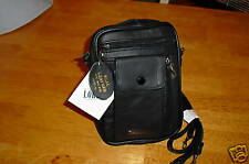 Mens Black Leather Shoulder/Wrist Bag From Lorenz New And Tagged