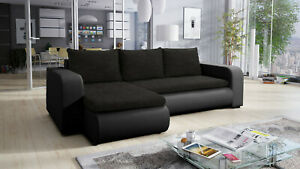 Universal Corner Sofa Bed in Black colour with spring seat & one storage