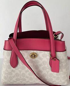Coach 650 Chalk/Pink Signature Leather/Coated Canvas Shoulder Bag $378.00 #701