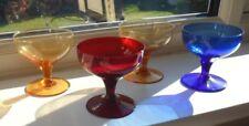 Antique Coloured Glass sundae dishes x 4 set ART DECO 1930s Perfect condition