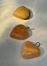 Heart Shaped Yellow Agate Beads Charms 15- 19 mm - Lot of 3