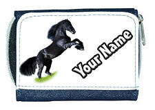 BLACK HORSE PERSONALISED DENIM PURSE -GREAT LADIES / GIRLS NAMED GIFT / PRESENT