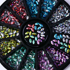 3D Nail Decoration In Wheel Holographic Marquise Nail Art Laser Studs 6 Colors