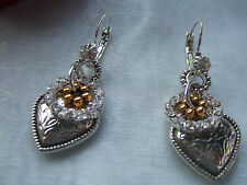BIJOUX FAB SILVER & GOLD TONE HEART AND CRYSTAL HOOP BOHO  EARRINGS