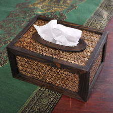 Retro Bamboo Tissue Box Dispenser Cover Napkin Paper Holder Paper Towel Case