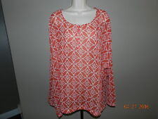 NWT Old Navy Women's Coral/RED/White Printed Blouse Size XXL