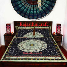 Cotton Astrology Queen Size Bed Sheet With 2 Pillow Case Throw Indian Bedding