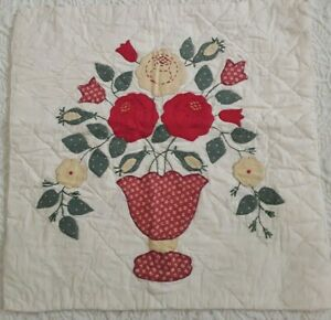 """Vintage Quilt Block Red Yellow Green Appliqued Flowers Hand Pieced & Quilted 16"""""""