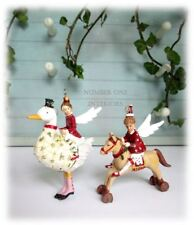 GISELA GRAHAM Christmas vintage fairy angel children SET OF 2 tree decorations