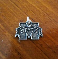 new! MISSISSIPPI STATE MSU BULLDOGS PEWTER M LOGO CHARM PENDANT bead fan jewelry