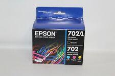 Genuine Epson 702XL Black & 702 Color Ink Cartridges Exp. 09/2023 T702XL-BCS