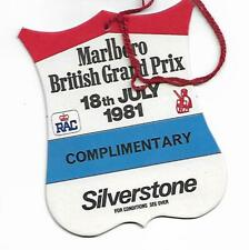 British Grand Prix Pass - Silverstone 1981