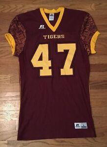 New Russell Men's Large Tigers #47 Dri-Power SUB Football Jersey Maroon