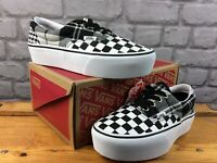 VANS UK 3 EU 35 ERA PLATFORM TRAINERS CHECKERBOARD BLACK WHITE CHILDRENS LADIES