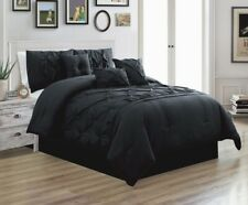 7Pc CAL King Solid Black Double-Needle Stitch Puckered Pinch Pleat Comforter Set
