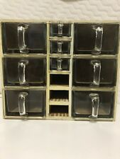 Vintage Monopol Pharmaceutical Or Candy Glass Drawers In Original Cabinet